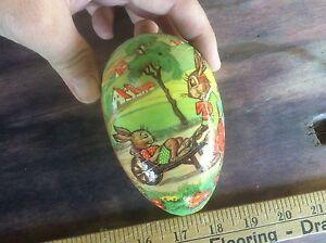 Vintage West Germany Easter Egg, Decorative Bunnies , Cardboard Paper Mache