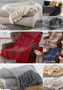 100-Cotton-Blanket-Throw-Sofa-Black-Cream-Red-Blue-Tartan-Small-amp-Large-Size