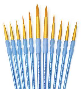 Royal Clear Choice Gold Taklon Artist Paint Brush Sets Filbert,Round,Shader,etc