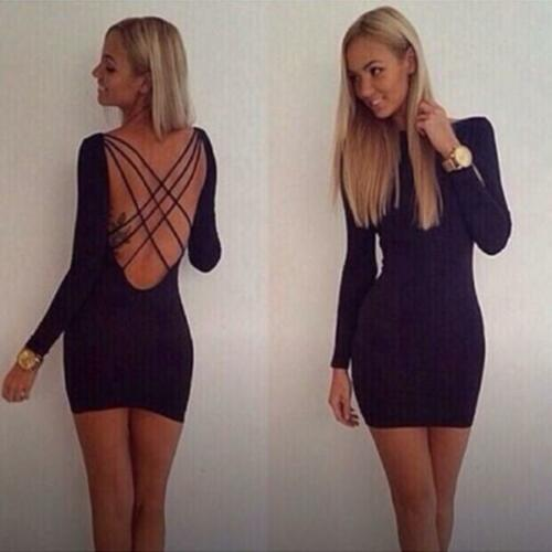 Sexy Women Backless Long Sleeve Back Cross Bandage Cocktail Paty Mini Dress Lg by Unbranded