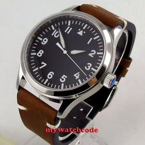 42mm-corgeut-black-dial-white-marks-sapphire-glass-ST1612-automatic-mens-Watch