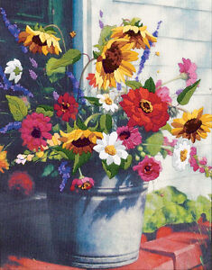 Dimensions Crewel Embroidery Kit - Bucket Of Flowers
