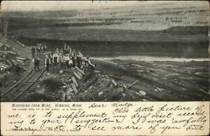 Hibbing-MN-Mahoning-Iron-Mine-Miners-c1910-Postcard