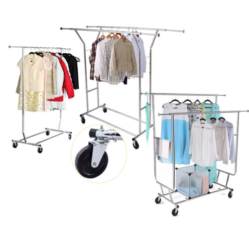 Commercial Grade Adjustable Cloth Rolling Double Garment Rack Hanger Heavy Duty