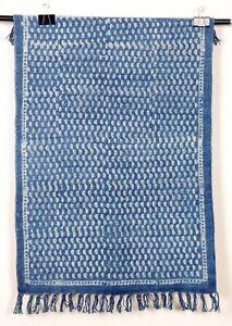 Small-Area-Rug-Indigo-Handmade-Floor-Carpet-Bohemian-Dari-2x3-Ft-Runner-Blue-Mat