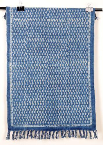 Small Area Rug Indigo Handmade Floor Carpet Bohemian Dari 2x3 Ft Runner Blue Mat