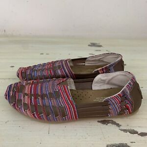 TOMS-Red-Purple-Blue-Brown-Woven-Slip-On-Flats-Shoes-Womens-7-MUST-SEE