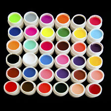 New 36 Pot Pure Colors UV Gel Nail Art Tips Shiny Cover Extension Manicure Decor
