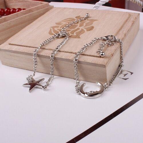 2 Pcs//Set Chic Simple Style Moon And Star Romantic Friends Silver Bracelet