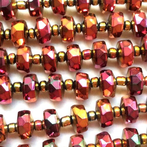 Dark Red Orange Brown Rouge Chinese Crystal Rondelle Pinwheel 7x4mm 1 Strand