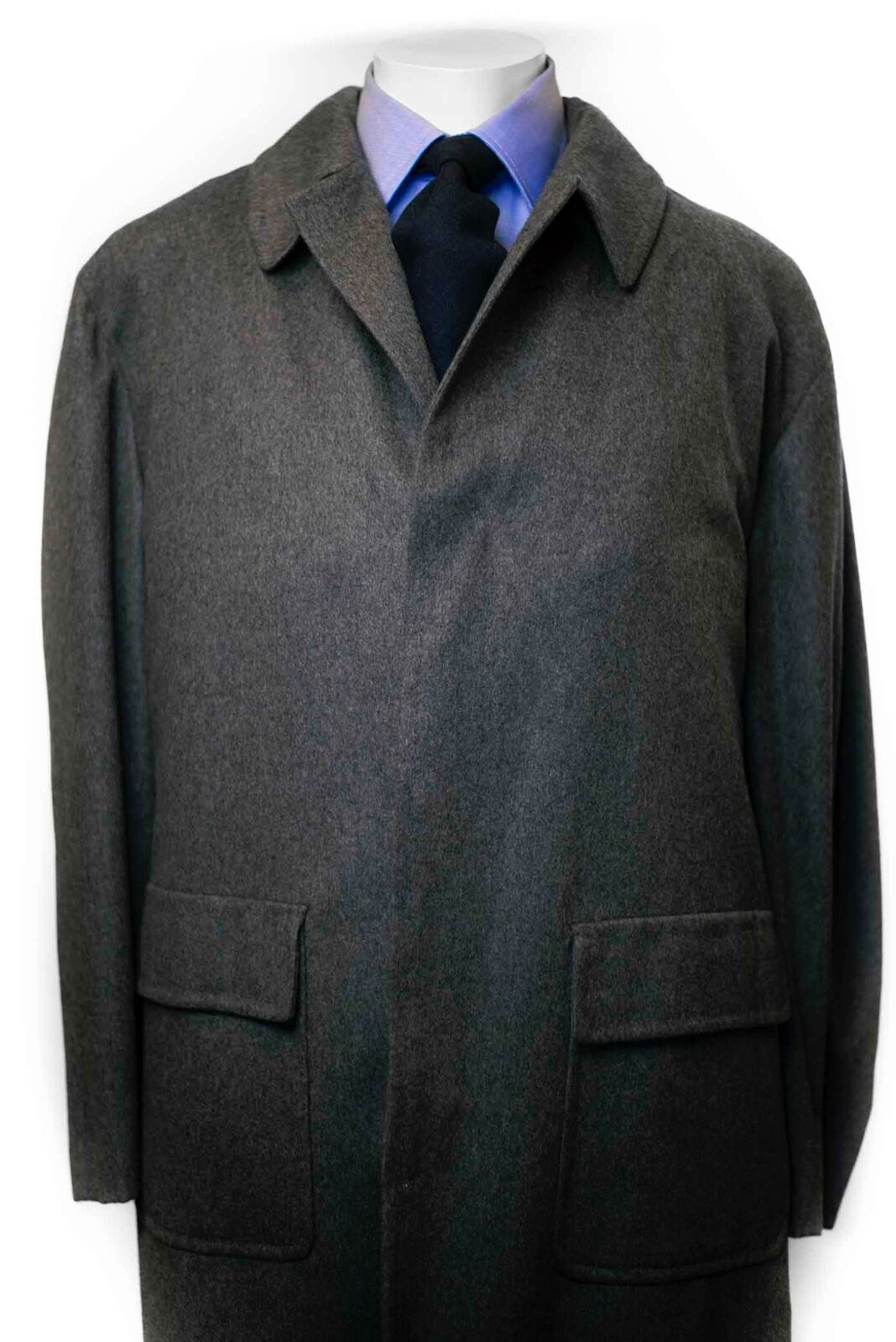 New Kiton Medium Grau Flannel Cashmere Overcoat US46 US48 US50