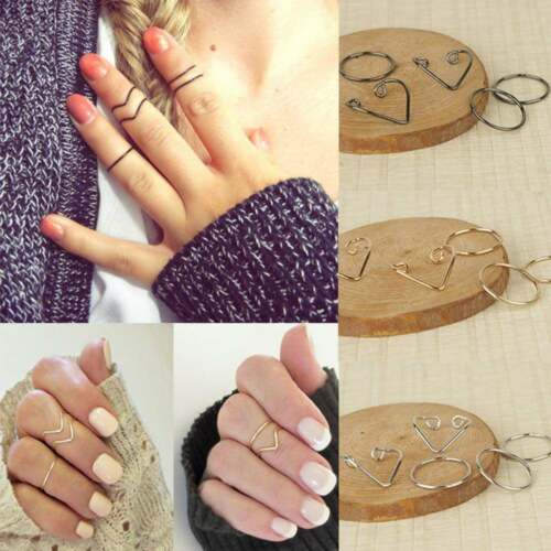 5 Pecies Lady Popular  Black Gold Silver Above Knuckle Ring Band Midi Rings Haca