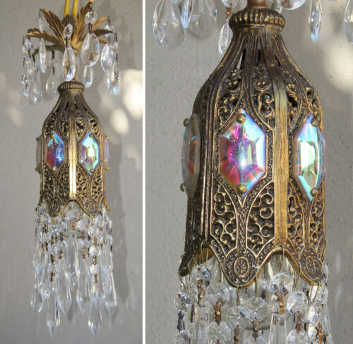 Jeweled Tulip lily filigree SWAG Piersed Crystal lamp chandelier Vintage brass p