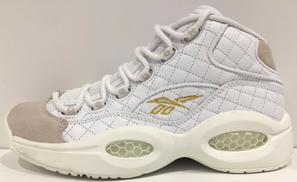 hommes Reebok Question Mid Quilted blanc Party Iverson blanc Chalk Gold