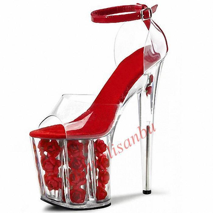 Fiesta Mujer Rojo Super Tacones Altos Zapatos danza Sandalias de danza Zapatos Transparente Stiletto bombas cce139