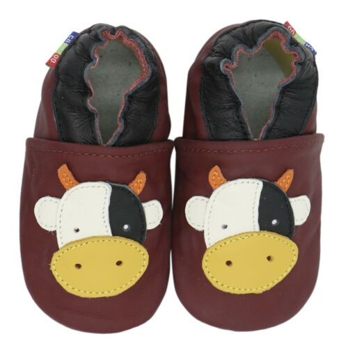 carozoo cow dark red 12-18m new soft sole leather baby shoes