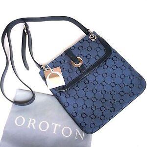49eb84701e69 RRP 395 New Oroton Across Large Bag Handbag Essential Leather Canvas ...