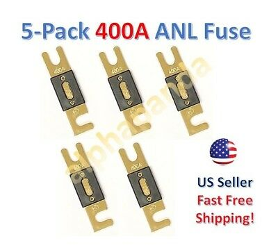 5-Pack Gold Plated 400 Amp 400A Car Stereo Audio ANL Blade Fuse Power Wire NEW