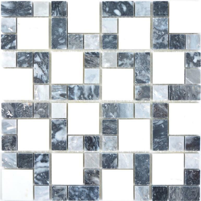 Marmor Mosaik Stein schwarz grau weiß Wand Boden Küche Dusche 88-0321 10Matten