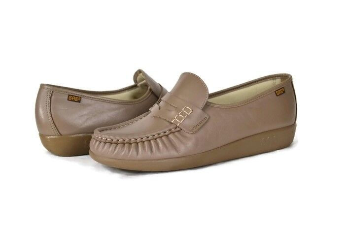 SAS Classic Penny Loafer Mocha Leather Size 9.5 M Women's shoes EX COND