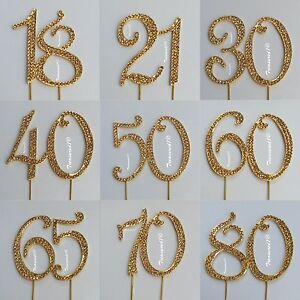 Image Is Loading Large Cake Pick Gold Topper Number Rhinestone