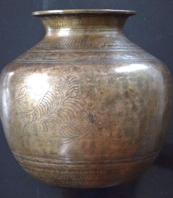 Ancien vase bronze ciselé Inde Antique bronze indian islamic vessel bowl XIX