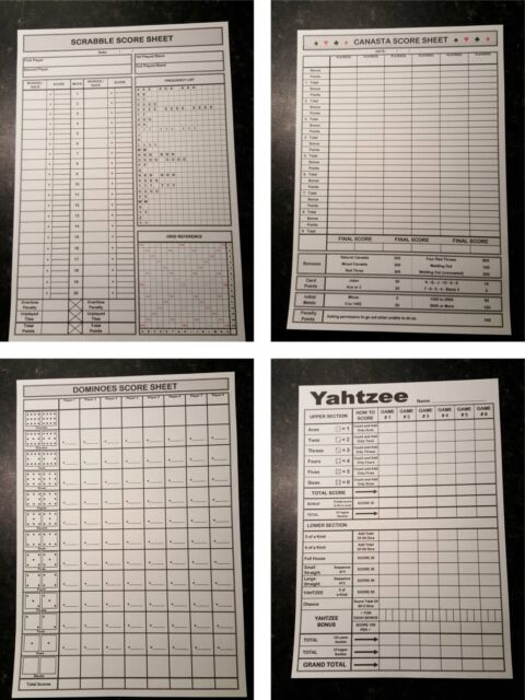 YAHTZEE - CLUEDO - SCRABBLE - KISMET: SCORE SHEETS: PRINT YOUR OWN ...