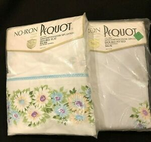 VTG-Pequot-Daisy-White-Blue-Purple-Double-Flat-Fitted-Sheet-Set-Full-New-Mod-NOS