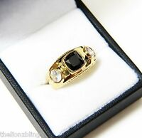 Hip Hop Urban Bling Ring Gold With Black Onyx Solitaire & Topaz Accents Sz 8.75