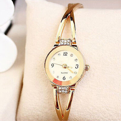 Women's Charismatic Rose Gold Plated Alloy Rhinestone Bracelet Wrist Watch Gift