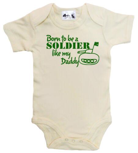 "Dirty Fingers /""nacido para ser soldado como Daddy/"" Bebé Bodysuit Babygrow Army Tank"
