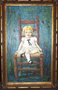MILDRED FEAZEL Signed Original Self Portrait Painting  Acrylic Polymer