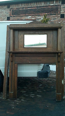 Oak Fire place mantle columns beveled mirror oval trim