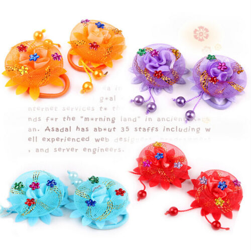 2Pcs Lace Rose Flower Hair Ropes Elastic Scrunchie for Kids Girls Head Wear HGUK