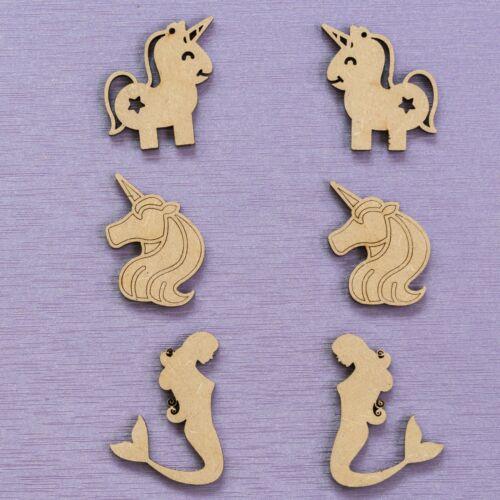20x licornes Mermaids 4 cm Bois Artisanat Embellissements Laser Cut forme MDF TOY BOX