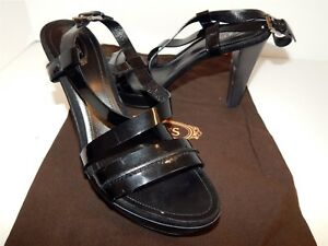 db2e774e75 Tod's Black Patent Leather Strappy Platform Heels Sandals Italy 39 ...