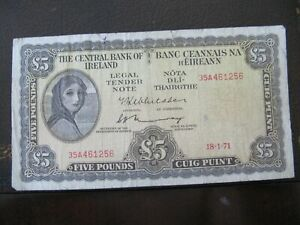 1971 Lady Lavery 5 pound banknote REDUCED