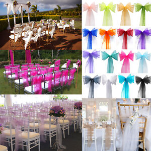Image Is Loading Organza Chair Cover Sash Bow Banquet Wedding Party