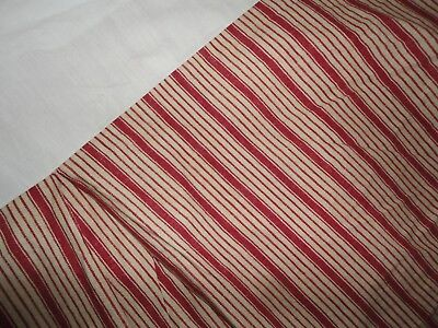 "RALPH LAUREN CHAPS RED LIGHT TAN STRIPE KING BEDSKIRT 16""  SPLIT CORNER"