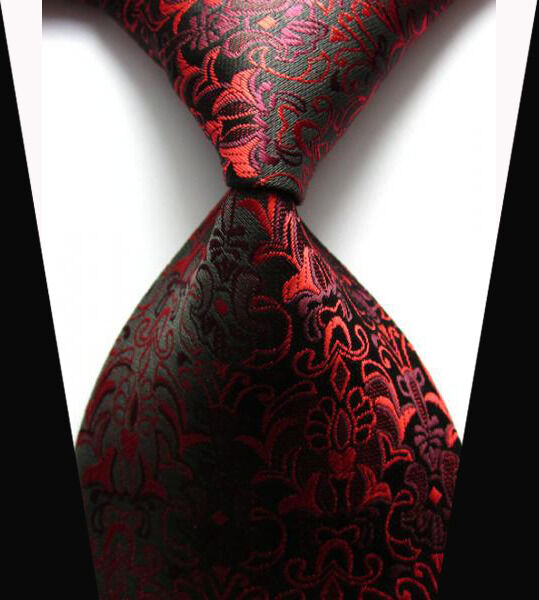 New Classic Black&Red Floral Tie WOVEN JACQUARD Silk Men's Suits Ties Necktie