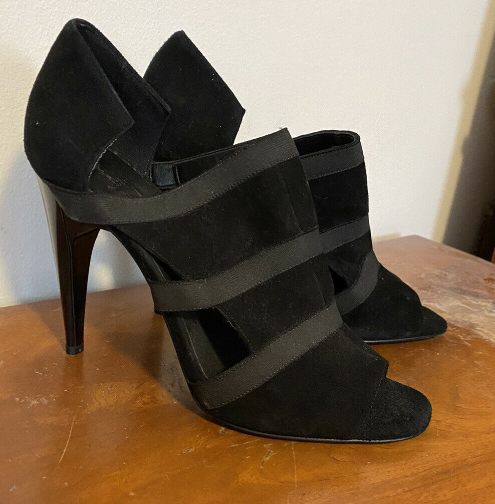 7 For All Mankind Peep Toe High Heel Shoes 8.5 Black Leather Suede