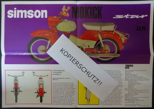 Reklame WERBUNG Simson Prospekt Star 3,4 PS DDR STIL1966 Mokick VEB SUHL IFA