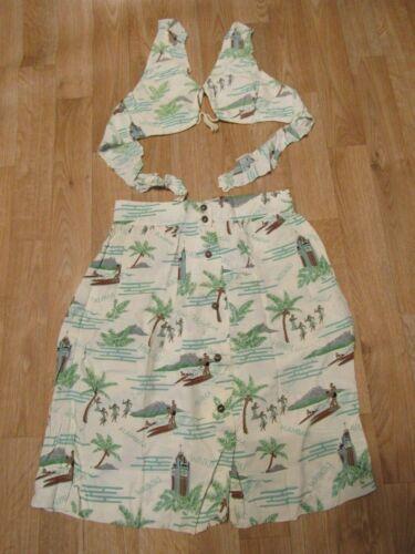 Vintage Hawaiian Skirt Bikini Top Dress Charlie Ch