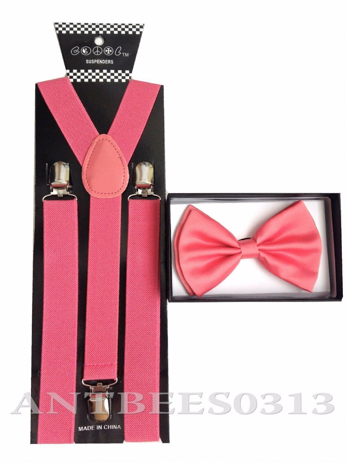 New Coral Pink Peach Salmon SUSPENDERS And BOWTIE Matching Set Tuxedo