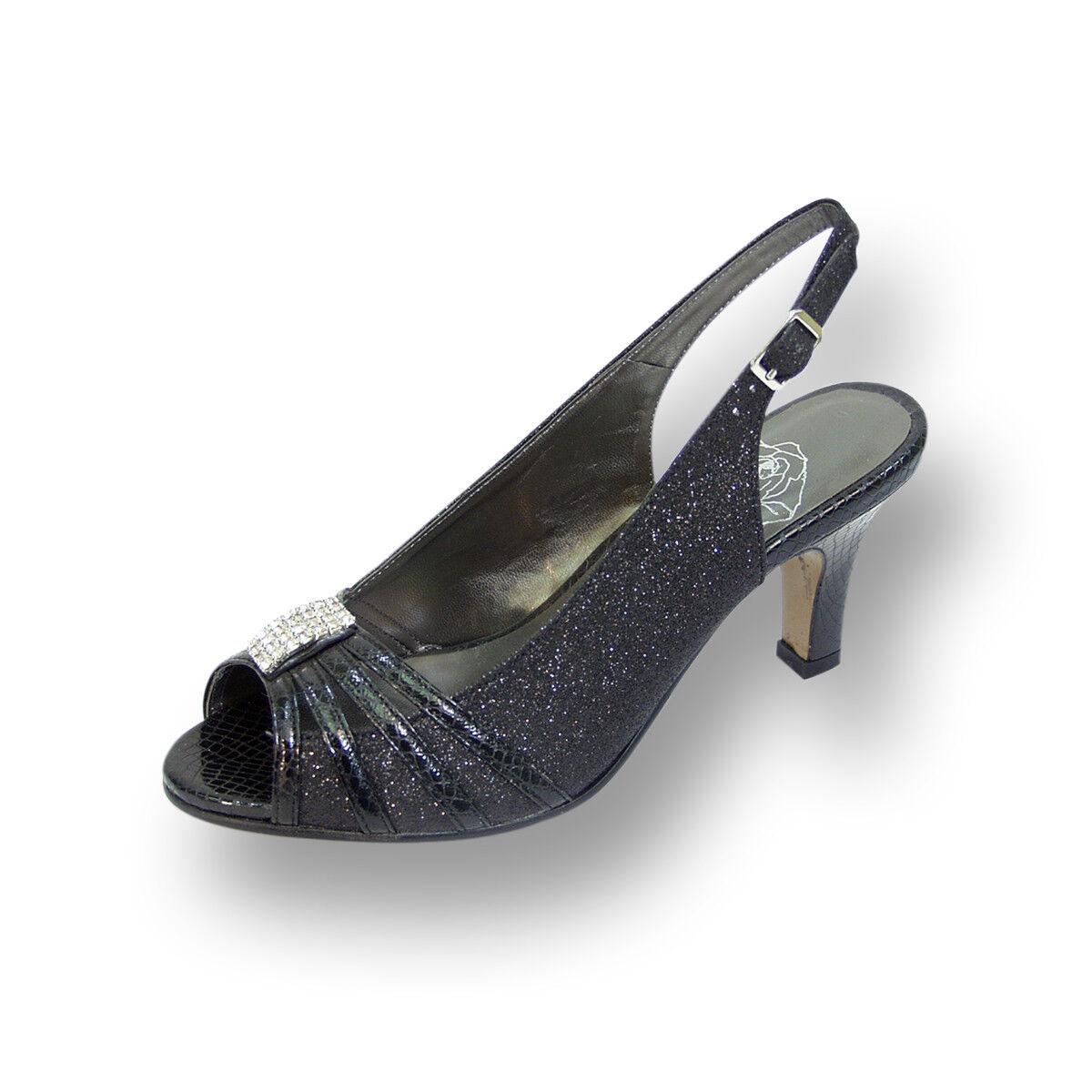 FIC FLORAL Teri Damens Wide Width Open Toe Decorative Jewel and Glitter Slingback