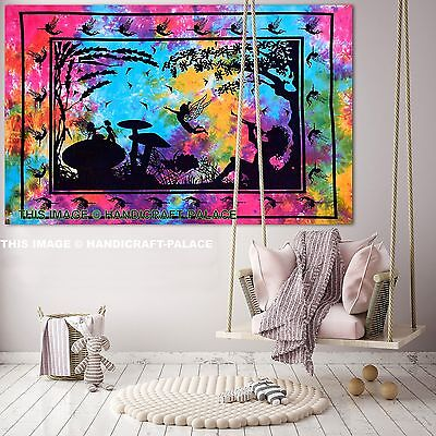 Indian Indigo Star Psychedelic Tapestry Wall Hanging Throw Decor Hippy Poster