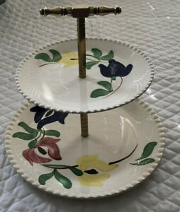 Vintage-Blue-Ridge-Southern-Potteries-USA-Tidbit-tray-Two-Plates-Painted-Flowers