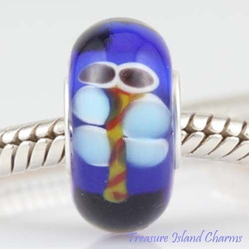DRAGONFLY BLUE LAMPWORK MURANO GLASS .925 Sterling Silver EUROPEAN Bead Charm