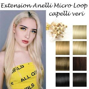 MICRORING-Micro-Loop-50-CIOCCHE-EXTENSION-capelli-VERI-0-8-gr-46-cm-Remy-Hair-AA