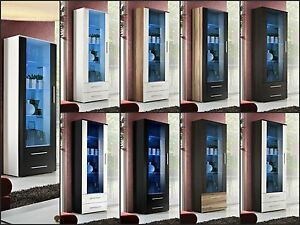Wohnzimmer-Vitrine-Glasvitrine-Schaukasten-Glasregal-Regal-NEO-HOCHGLANZ-LED-TOP